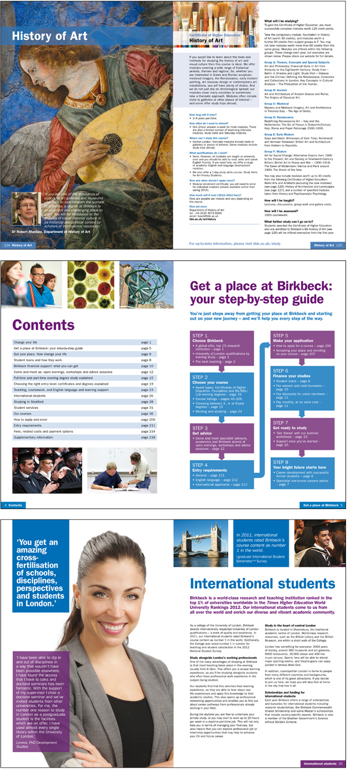 Birkbeck university prospectus artwork