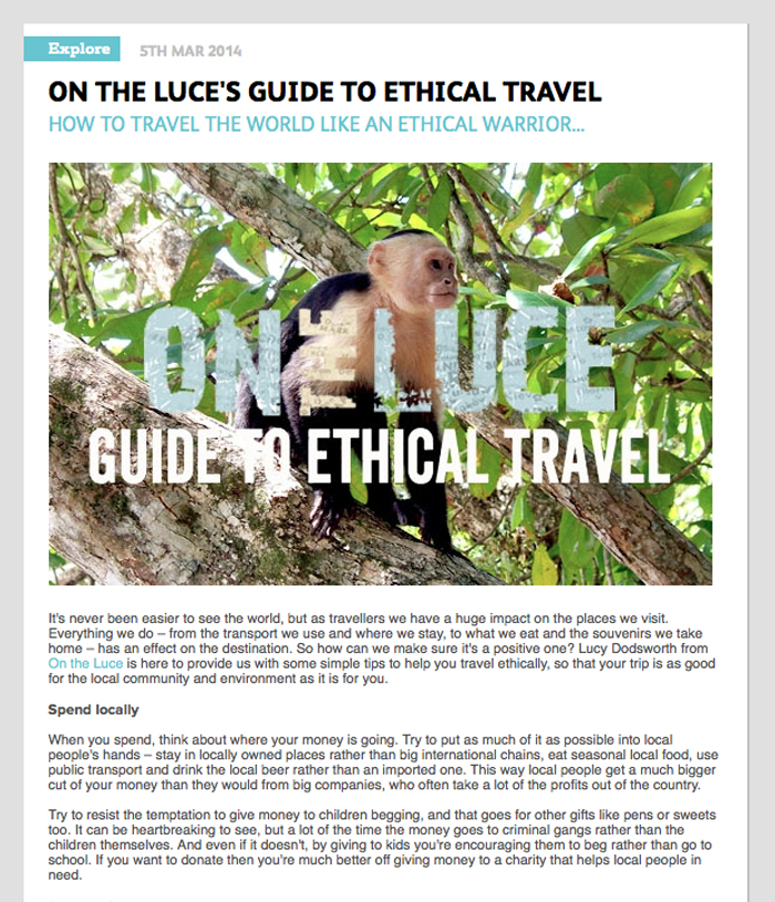 Ethical travel article for Contiki